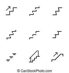 set, silhouette, simbolo, illustrazione, vettore, fondo, bianco, scale, scala, icona