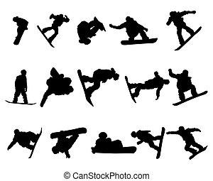set, silhouette, snowboarde, man