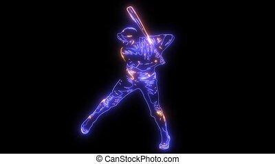 set, silhouette, speler, animatie, video, honkbal