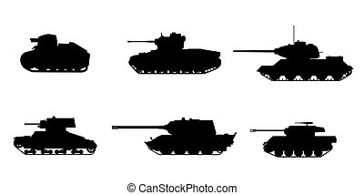 Set Silhouette Tank American German Britain Soviet French World War 2 icons. Military army machine war, weapon, battle symbol silhouette side view icon. Vector illustration isolated
