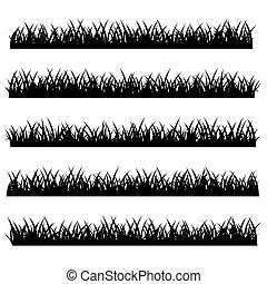 set, silhouette, vrijstaand, achtergrond., vector, witte , gras