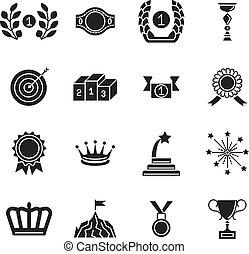 set, silhouette, vrijstaand, competitie, toe het kennen, icons., vector, black , toewijzen, achtergrond, witte , prestatie, pictogram