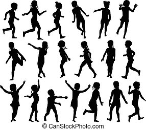 Set silhouettes childrens jumping running