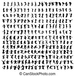 Set silhouettes. Hundreds of people. Vector