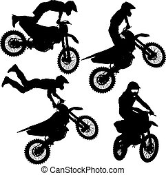 Set silhouettes Motocross rider on a motorcycle. Vector...