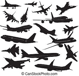 Set silhouettes of aircraft - Many silhouettes of different...