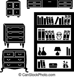 Set silhouettes of cupboard, chests and bookshelf