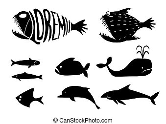 Set silhouettes of fishes