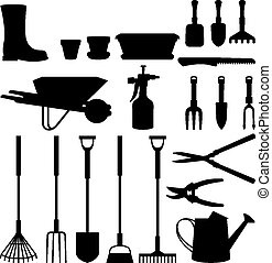 Set silhouettes of objects garden