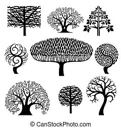 Set silhouettes of trees.