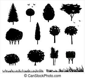 set, silhouettes, van, bomen, 2
