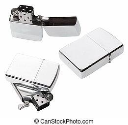 Set Silver metal zippo lighter