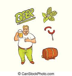set, simboli, birra, vettore, amante, cartone animato