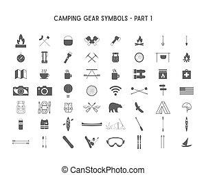 set, simboli, esterno, differente, silhouette, campeggio, icone, ingranaggio, progetta, isolato, 1, logotypes, posters., creare, uso, infographics, parte, avventura, distintivo, forme, vettore, white.