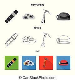 set, simbolo, campeggiare, web., illustrazione, alpinismo, vettore, picco, logo., casato