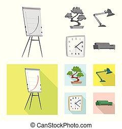 set, simbolo., mobilia, illustrazione, icona, stock., casa, vettore, lavoro