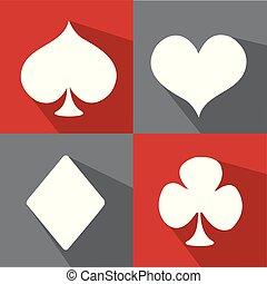 set, simbolo, vettore, completo, carta da gioco, icona