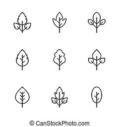 Set simple leaf icons