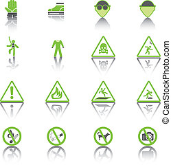 Set Simple of Warning Hazard Signs, Green Icons.