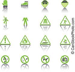 Set Simple of Warning Hazard Signs, Green Icons.
