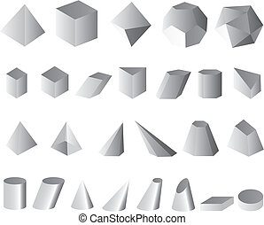 3D set vector illustration simple shapes geometric