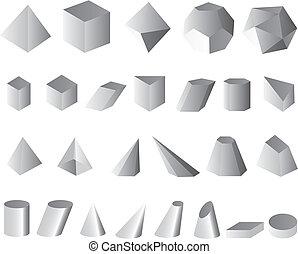 3D set vector illustration simple shapes geometric