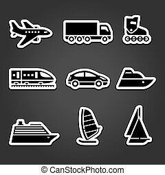 Set simple stickers transport icons