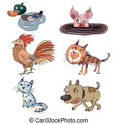 Set six funny pet animals
