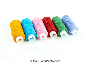 Set skein of thread multi-colored red, blue and orange material for embroidery