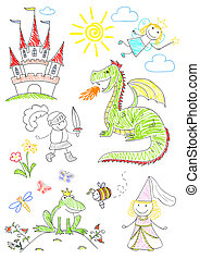 Set sketches with characters of fairy-tales - Collection...
