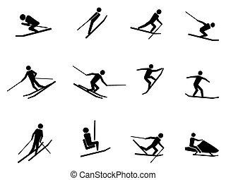 set, ski, iconen
