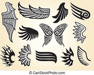 (set, skrzydełka, zbiór, wings)