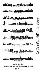 set, skylines, unie, 27, metropolisen, europeaan