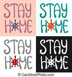 set., slogan., 有色人種, letterings, 動機づけである, 家, 滞在, 検疫
