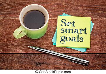 set smart goals - sticky note concept