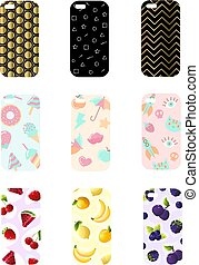 Set smart phone cases with fashionable geometric ornaments, fruits, cakes and abstract design.