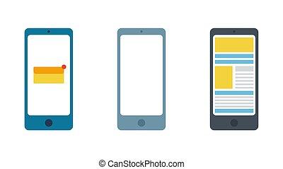 Set smartphone. Isolation on a white background.