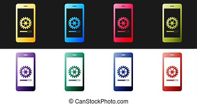Set Smartphone update process with gearbox progress and loading bar icon isolated on black and white background. System software update and upgrade concept. Vector