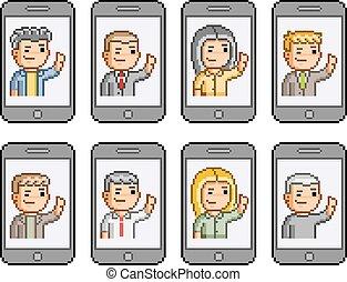 set., smartphones, komunikować, pixel, ludzie