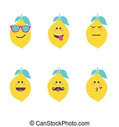 Set smile emoticon face in lemon.