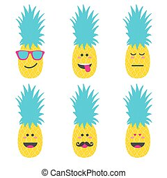 Set smile emoticon face in pineapple.
