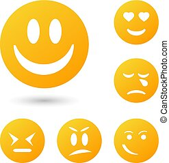 ollection creative cartoon style smiles with different emotions.