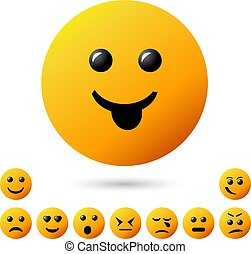 collection creative cartoon style smiles with different emotions