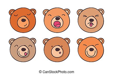 Set smileys bears