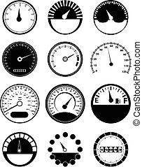 set, snelheid, meter, iconen