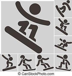 Set snowboard icons