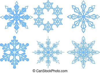 Set Snowflake. Flake of snow. Isolated on white vector ...