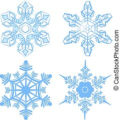 Set Snowflake. Flake of snow. Isolated on white vector...