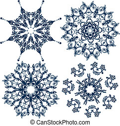 set, snowflakes, element, vector, floral ontwerpen