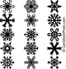 Set snowflakes icons on white background, vector illustration